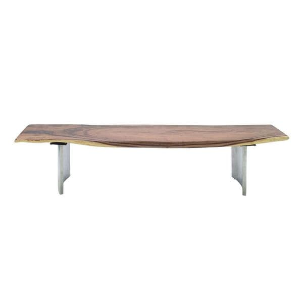 79 Inch Wide X 18 Inch High Stainless Steel Teak Dining Bench