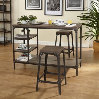 Simple Living Scholar Vintage Industrial 3 Piece Counter Height Dining Set
