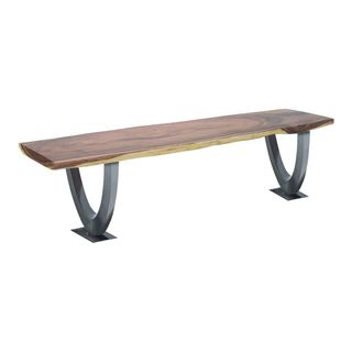 Stainless Steel and Teak Wood 18-inch High x 79-inch Wide Dining Bench