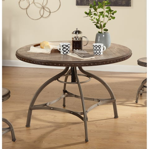 Simple Living Decker Nailhead Trim Adjustable Height Swivel Dining Table - N/A