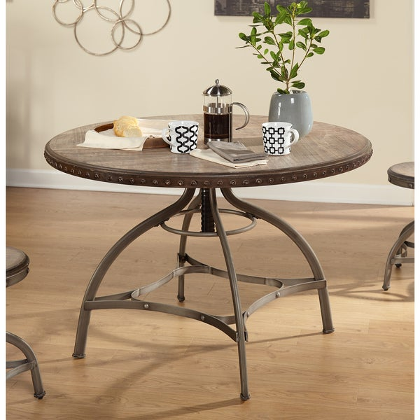 Simple living decker nailhead trim adjustable height for Rotating dining table