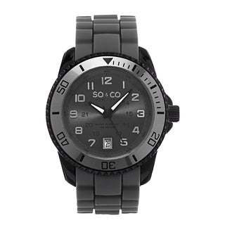 SO&CO New York Men's Quartz Yacht Timer Unidirectional Watch with Grey Silicone Rubber Strap
