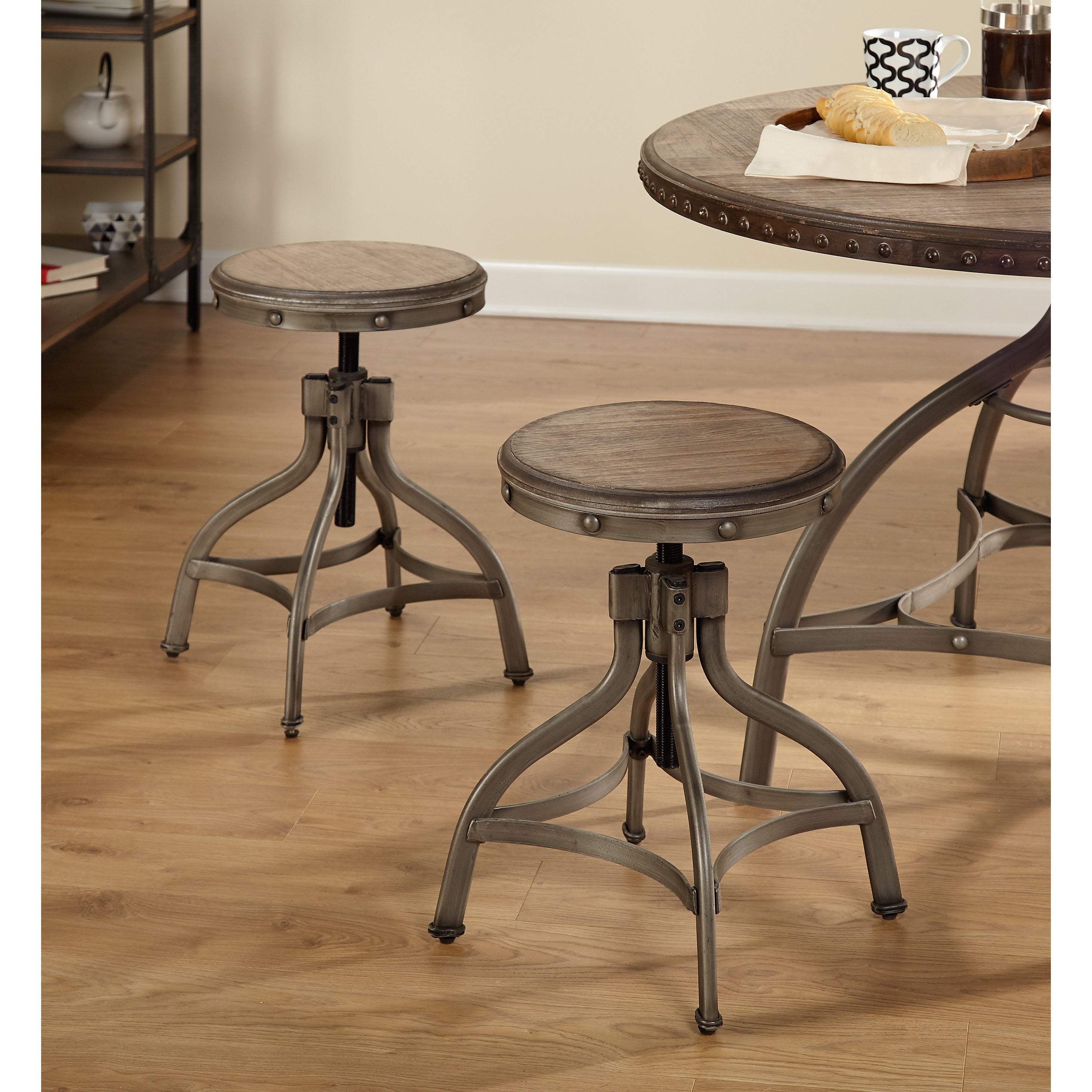 Swivel Bar Stool Pewter Wood Seat Height Adjustable Rustic