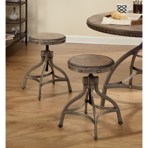 Beau Simple Living Decker Distressed Wood/Pewter Metal Adjustable Height Swivel  Stool With Nailhead (Set