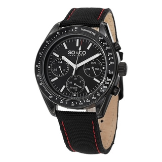 SO&CO New York Men's Monticello Black Nylon/Leather Strap Quartz Tachymetere Watch