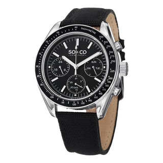 SO&CO New York Men's Quartz Monticello Black Nylon Leather Strap Watch