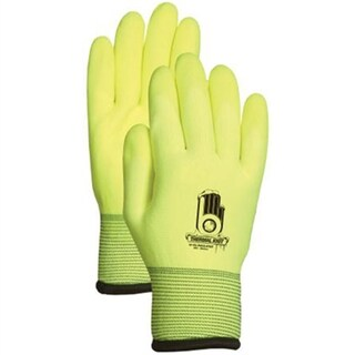 Work Gloves Dual Layer Seamless Insulated Nitrile Liner PVC Palm Coating Hi-Visibility Yellow Large