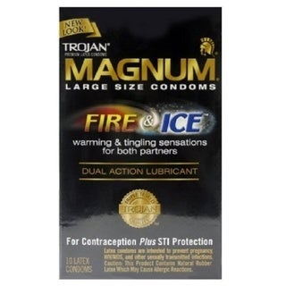 Trojan Magnum Fire and Ice Dual Action Lubricant Large Size Condoms