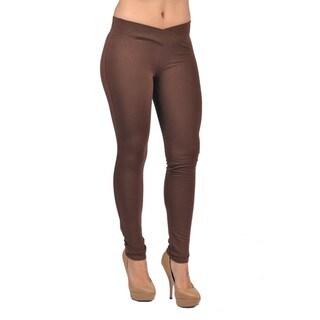 C'est Toi Women's Brown Cotton-blend Pull-on Leggings