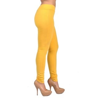 C'est Toi Women's Pull-on Style Yellow Leggings