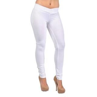 C'est Toi Women's White Cotton/Polyester/Spandex Pull-on Leggings