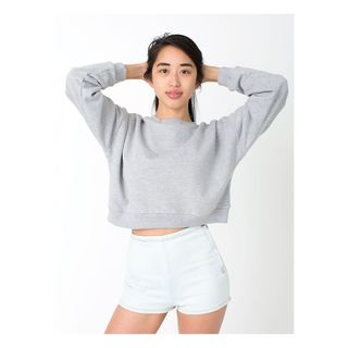 American Apparel Girl's Grey Fleece Cropped Sweatshirt