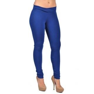 C'est Toi Women's Royal Blue Cotton-blend Pull-on Leggings