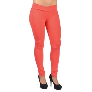 C'est Toi Red Cotton/Polyester/Spandex Pull-on Style Leggings