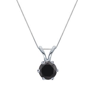 Auriya 14k Gold 1/4ct TDW Round-Cut Black Diamond 6-Prong Solitaire Necklace