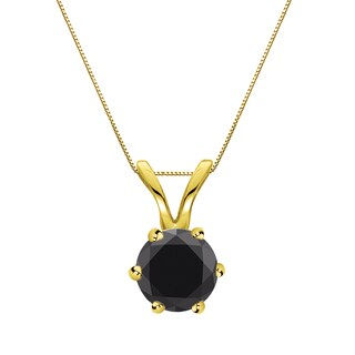 Auriya 14k Gold 1/2ct TDW Round-Cut Black Diamond 6-Prong Solitaire Necklace