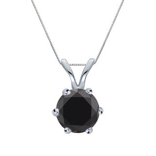 Auriya 14k Gold 1ct TDW Round-Cut Black Diamond 6-Prong Solitaire Necklace