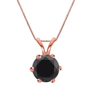 Auriya 14k Gold 1 1/2ct TDW Round-Cut Black Diamond 6-Prong Solitaire Necklace