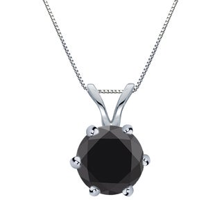 Auriya 14k Gold 2ct TDW Round-Cut Black Diamond 6-Prong Solitaire Necklace