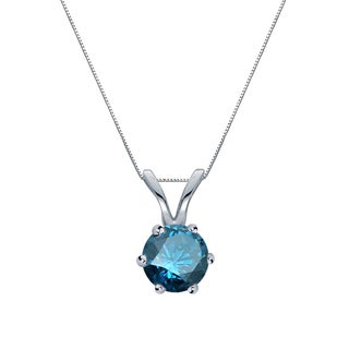 Auriya 14k Gold 1/4ct TDW Round-Cut Blue Diamond 6-Prong Solitaire Necklace (Blue, SI2-SI3)