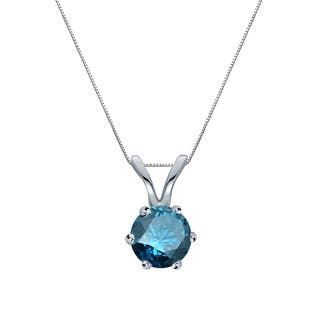 Blue diamond necklaces for less overstock auriya 14k gold 14ct tdw round 6 prong blue diamond solitaire necklace audiocablefo