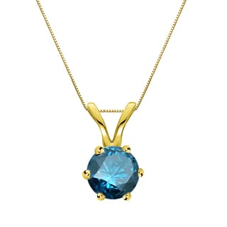 Auriya 14k Gold 1/2ct TDW Round-Cut Blue Diamond 6-Prong Solitaire Necklace (Blue, SI2-SI3)