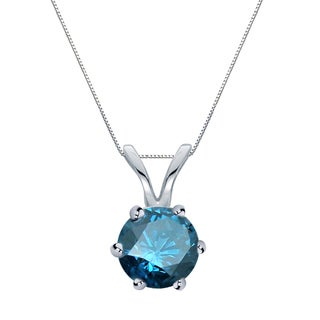 Auriya 14k Gold 3/4ct TDW Round 6-Prong Blue Diamond Solitaire Necklace