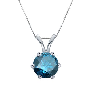 Auriya 14k Gold 1ct TDW Round-Cut Blue Diamond 6-Prong Solitaire Necklace (Blue)