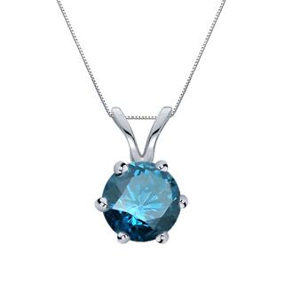 Buy blue diamond necklaces online at overstock our best auriya 14k gold 1ct tdw round 6 prong blue diamond solitaire necklace aloadofball Image collections