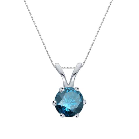 Auriya 1/3ctw Blue Diamond Solitaire Necklace 14k Gold 6-Prong