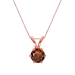 Auriya 14k Gold 1/4ct TDW Round-Cut Brown Diamond 6-Prong Solitaire Necklace (Brown)