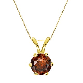 Auriya 14k Gold 3/4ct TDW Round-Cut Brown Diamond 6-Prong Solitaire Necklace (Brown)