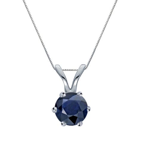 Auriya 14k Gold Blue Sapphire Solitaire Necklace 1/2ctw 6-Prong