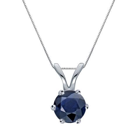 Auriya 1/2ct Round Blue Sapphire Solitaire Necklace 14K Gold