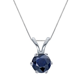 Auriya 14k Gold 1/2ct Round-Cut Blue Sapphire 6-Prong Solitaire Necklace