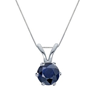 Auriya 14k Gold 1/2ct Round 6-Prong Blue Sapphire Solitaire Necklace