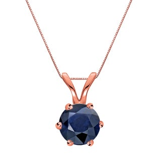 Auriya 14k Gold 3/4ct Round-Cut Blue Sapphire 6-Prong Solitaire Necklace