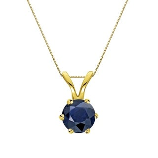 Auriya 14k Gold 1/3ct Round-Cut Blue Sapphire 6-Prong Solitaire Necklace