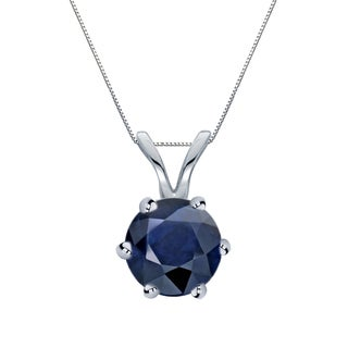 Auriya 14k Gold 1ct Round-Cut Blue Sapphire 6-Prong Solitaire Necklace