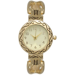 Olivia Pratt Goldtone Stainless-steel Women's Decorative Antique-style Watch