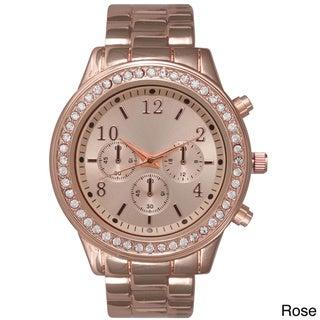 Olivia Pratt Women's Beautiful Rhinestone Accented 3-dial Watch