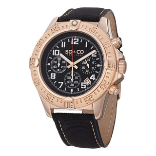 SO&CO New York Men's Quartz Yacht Timer Unidirectional Black Nylon Leather Strap Watch