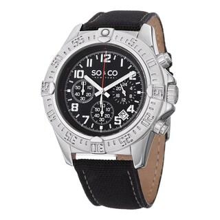 SO&CO New York Men's Yacht Timer Black Nylon/Leather Strap Quartz Unidirectional Watch