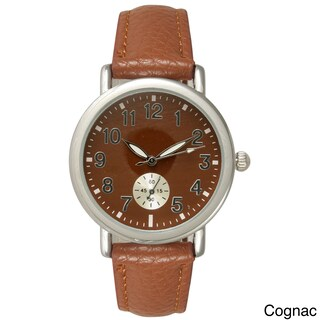 Olivia Pratt Women's Stainless Steel/Leather Watch (Option: Brown)