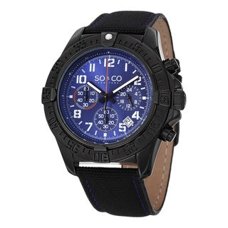 SO&CO New York Men's Yacht Timer Black Nylon & Leather Strap Unidirectional Quartz Watch