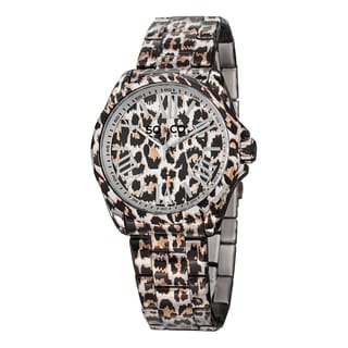 SO&CO New York Women's Quartz SoHo Stainless Steel Animal Print Link Bracelet Watch