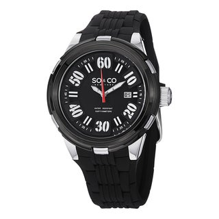 SO&CO New York Men's SoHo Quartz Black Silicon Rubber Strap Watch