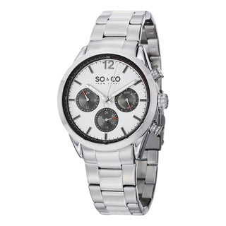 SO&CO New York Men's Quartz Monticello Stainless Steel Link Bracelet Watch