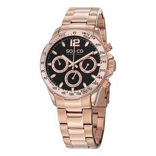 SO&CO New York Men's Monticello Rose Tone Stainless Steel Link Bracelet Quartz Watch