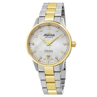 Alpina Women's AL-525APWD3C3B 'Comtesse' Mother of Pearl Diamond Dial Stainless Steel Two Tone Swiss Automatic Watch